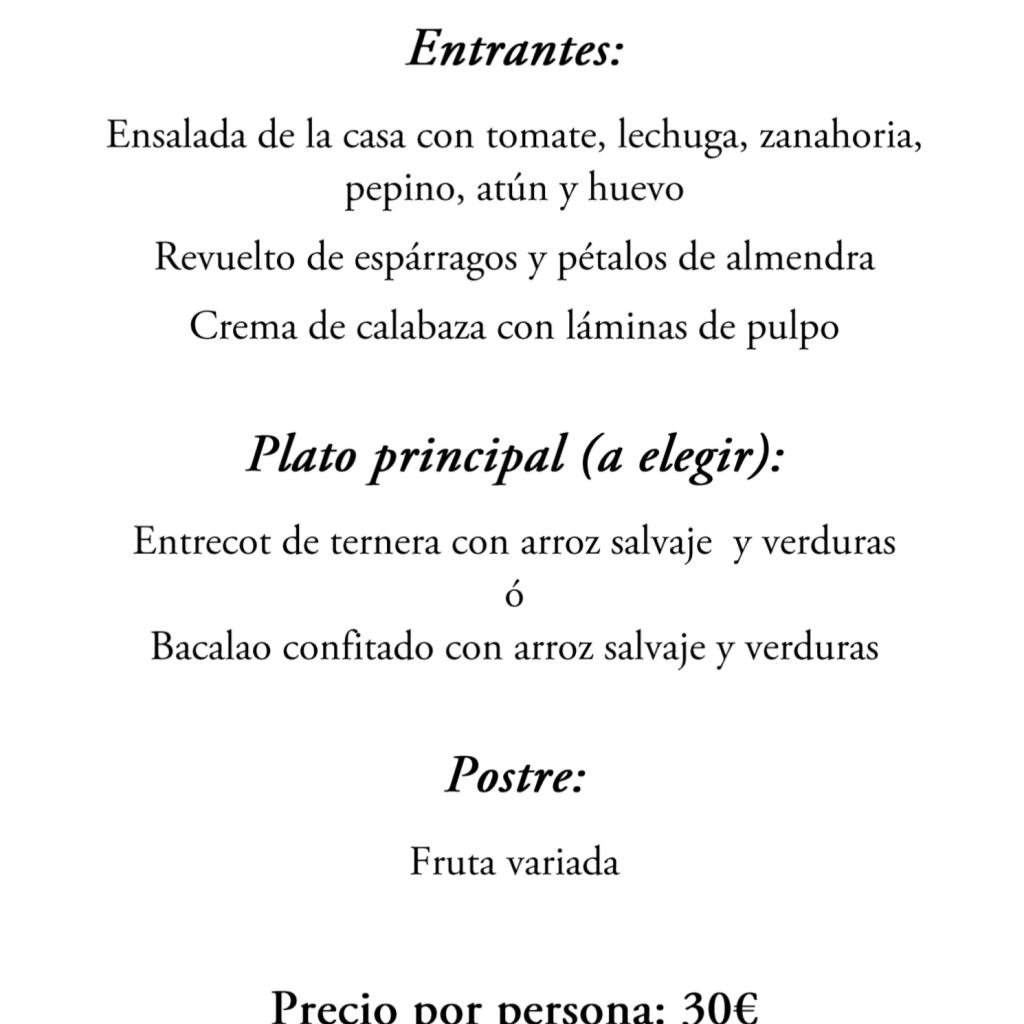 COMIDA DE GALA DOMINGO 2-F: MENU E INSCRIPCIONES