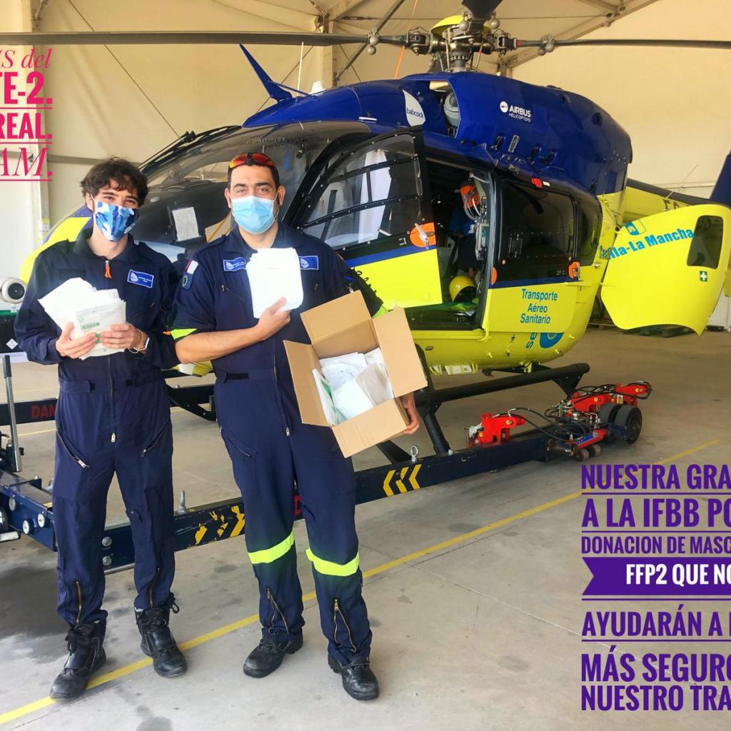 IFBB ENTREGA MASCARILLAS FFP2  AL SERVICIO DE RESCATE DE CASTILLA-LA MANCHA